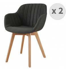 STEFFY-Chaises scandinave tissu gris anthracite pied hêtre (x2)