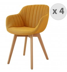 STEFFY-Chaises scandinave tissu Curry pied hêtre (x4)