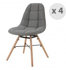 UMA-Chaise scandinave tissu gris pieds hêtre (x4)