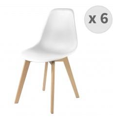 LENA-Chaise scandinave blanc et hêtre (x6)