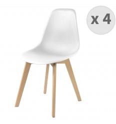 LENA-Chaise scandinave coloris blanc et hêtre (x4)