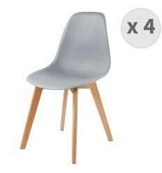 LENA-Chaise scandinave coloris gris et hêtre (x4)