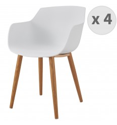 ANDREA-Chaise scandinave blanc pied métal effet bois (x4)