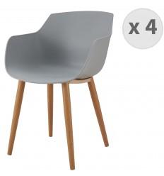 ANDREA-Chaise scandinave gris pied métal effet bois (x4)
