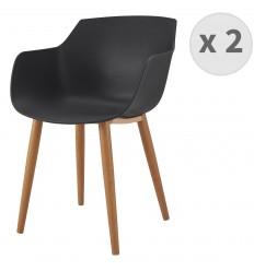 ANDREA-Chaise scandinave noir pied métal effet bois (x2)
