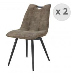 HANDY-Chaise Microfibre vintage brun clair pieds métal noir (x2)