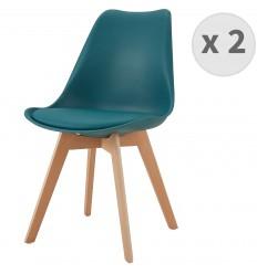 LIGHTY-Chaise PP bleu canard pieds Hêtre (x2)