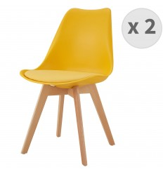 LIGHTY-Chaise PP curry pieds Hêtre (x2)