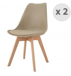LIGHTY-Chaise PP taupe pieds Hêtre (x2)