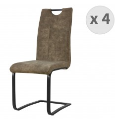 GARDNER lotx4 Chaise MF vintage 809 pied metal noir