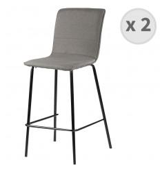 DENVER-chaise de bar tissu gris pieds métalnoir (x2)