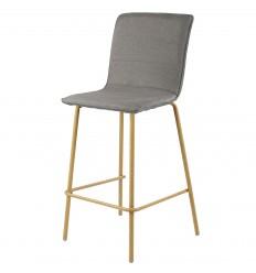 DENVER-chaise de bar tissu gris pieds métaleffet bois (x1)