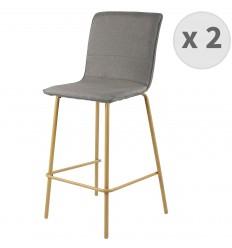 DENVER-chaise de bar tissu gris pieds métaleffet bois (x2)