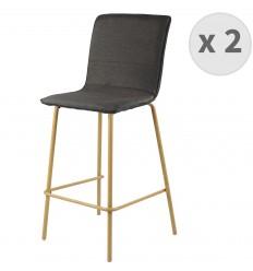 DENVER-chaise de bar tissu noir pieds métaleffet bois (x2)
