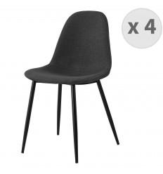 ORLANDO-Chaise tissu gris foncé pieds métal noir (x4)