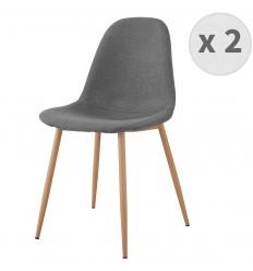ORLANDO-Chaise tissu gris pieds métal bois (x2)
