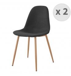 ORLANDO-Chaise tissu gris foncé pieds métal bois (x2)