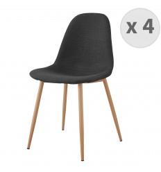 ORLANDO-Chaise tissu gris foncé pieds métal bois (x4)