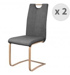 GARDNER-chaise de salle à manger tissu gris pieds effet bois (x2)