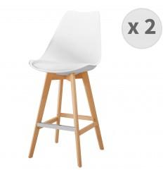 LIGHTUP-Tabouret de bar scandinave blanc pieds hêtre (x2)