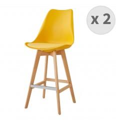 LIGHTUP-Tabouret de bar scandinave jaune pieds hêtre (x2)