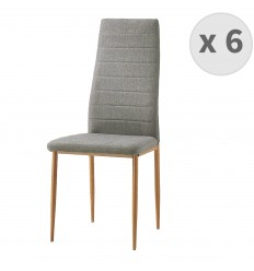 ANNA-chaise de salle à manger Tissu lin pieds effet bois (x6)