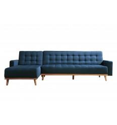 KIMMY XL-Canapé d'angle convertible tissu bleu pieds bois