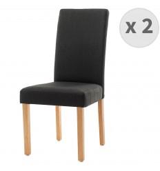 TINITA-Chaise de salle à manger tissu anthracite pieds bois (x2)