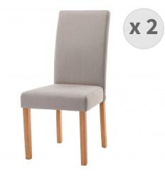 TINITA-Chaise de salle à manger tissu couleur lin pieds bois (x2)