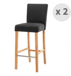 TURNER-Chaise de bar tissu gris anthracite pieds bois naturel (x2)