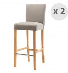 TURNER-chaise de bar tissu lin pieds bois naturel (x2)