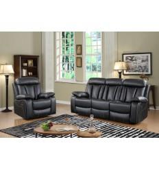 MILAN-Set canapés 3 places et fauteuilrelax manuelsimili noir
