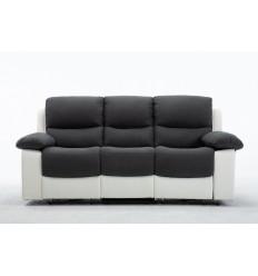 KEATON-Set canapés 3 et 2 places relax électrique tissu gris et pu blanc