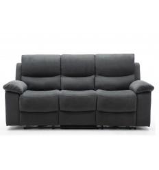 KEATON-Set canapés 3 et 2 places relax électrique tissu gris foncé