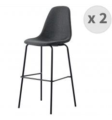 VEGAS-75-Tabouret de bar tissu gris foncé pieds métal noir (x2)