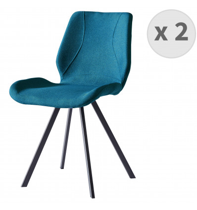 HALIFAX-Chaise indus tissu bleu pieds noir brossé (x2)