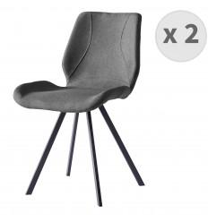 HALIFAX-Chaise indus tissu gris pieds noir brossé (x2)