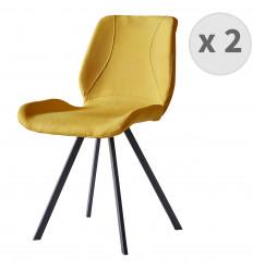 HALIFAX-Chaise indus tissu curry pieds noir brossé (x2)