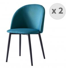 MALOU-Chaise indus tissu bleu pieds noir brossé (x2)