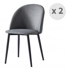 MALOU-Chaise indus tissu gris foncé pieds noir brossé (x2)