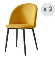 MALOU-Chaise indus tissu curry pieds noir brossé (x2)