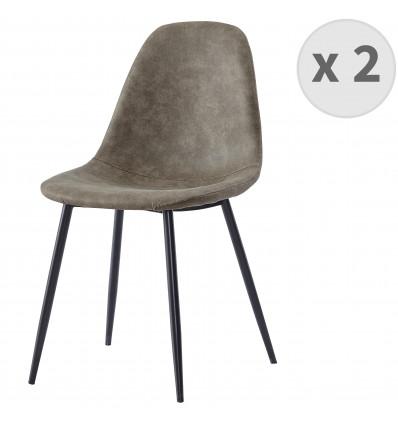 ORLANDO - Chaise microfibre vintage brun clair pieds métal noir (x2)