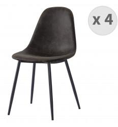 ORLANDO - Chaise microfibre vintage ébène pieds métal noir (x4)