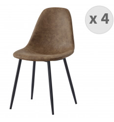 ORLANDO - Chaise microfibre vintage brun pieds métal noir (x4)