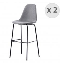 VEGAS-75-Tabouret de bar tissu gris pieds métal noir (x2)