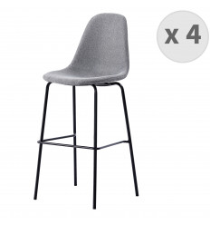 VEGAS-75-Tabouret de bar tissu gris pieds métal noir (x4)