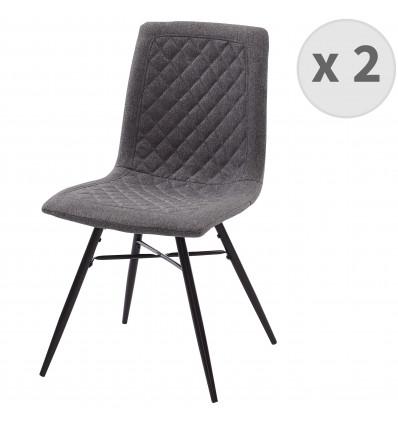 OXFORD-Chaise indus tissu bleu pieds noir (x2)