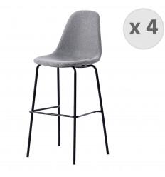 VEGAS-65-Tabouret de bar tissu gris pieds métal noir (x4)
