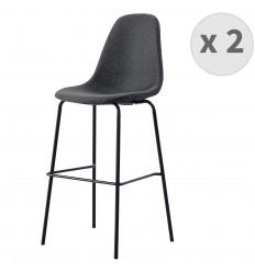 VEGAS-65-Tabouret de bar tissu gris foncé pieds métal noir (x2)
