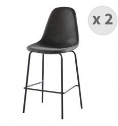 VEGAS-65-Tabourets de bar microfibre vintage ébène pieds métal noir (x2)